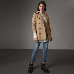 Burberry The Kensington - Short Trench Coat, Size: 08, Yellow found on MODAPINS from Burberry for USD $1690.00