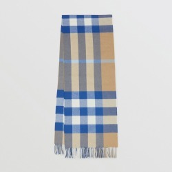 Burberry Check Cashmere Scarf, Brown