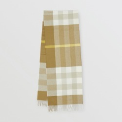 Burberry Check Cashmere Scarf, Yellow
