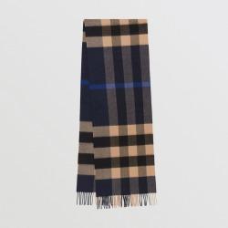 Burberry Check Cashmere Scarf, Blue