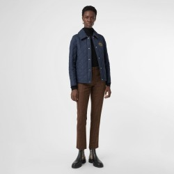 Burberry Embroidered Crest Diamond Quilted Jacket, Blue found on MODAPINS from Burberry for USD $420.00