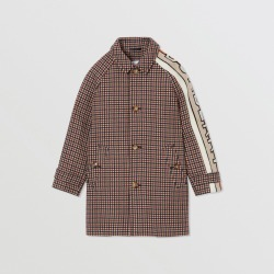 Burberry Childrens Logo Jacquard Check Wool Car Coat, Size: 14Y, Brown