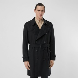 Burberry The Mid-length Kensington Heritage Trench Coat, Size: 44, Black found on MODAPINS from Burberry for USD $1990.00
