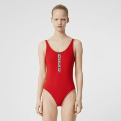 Burberry Logo Detail Zip-front Swimsuit, Bright Red
