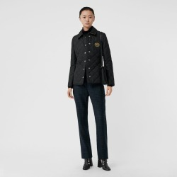 Burberry Embroidered Crest Diamond Quilted Jacket, Black found on MODAPINS from Burberry for USD $420.00
