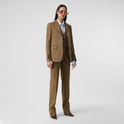 Burberry Prince of Wales Check Linen Wool Cashmere Trousers, Size: 02 found on Bargain Bro from Burberry for USD $904.40