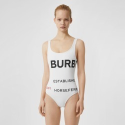 Burberry Horseferry Print Swimsuit, White
