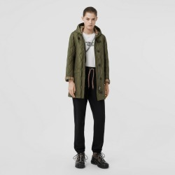 Burberry Diamond Quilted Hooded Coat, Cadet Green