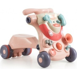 2-in-1 Baby Walker with Activity Center-Pink