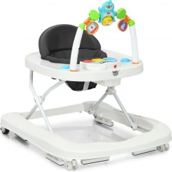 2-in-1 Foldable Baby Walker with Adjustable Heights-Black