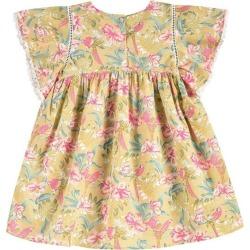 Louise Misha Christina Dress, Soft Honey Parrots (Prints Yellow Multi, Size 6Y) Maisonette