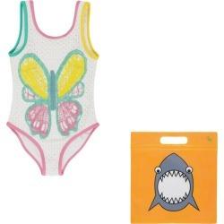 Stella McCartney Swimsuit w/ Butterfly Crochet, Ecru (Multicolor, Size 3Y) Maisonette