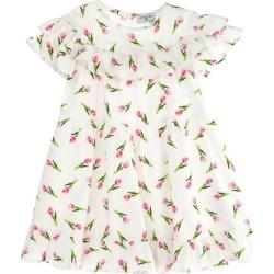 Monnalisa Mini Tulips Print Dress, (White, Size 4Y) Maisonette found on Bargain Bro from maisonette.com for USD $126.62