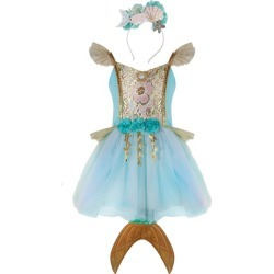 Great Pretenders Mermalicious Dress w/Tail and Headband (Multicolor, Size 5-6Y) Maisonette found on Bargain Bro Philippines from maisonette.com for $46.00