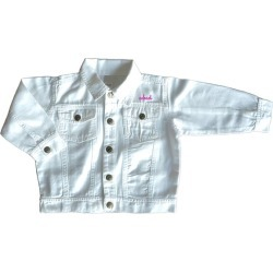 juju + stitch Little Kid Front Embroidery Denim Jacket, (White, Size 4Y) Maisonette found on Bargain Bro Philippines from maisonette.com for $86.00