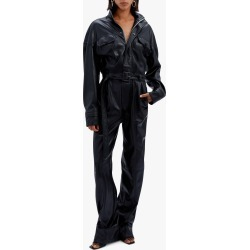 Women's Jonathan Simkhai Katerina Faux Leather Utility Jumpsuit in Black Size 2 found on MODAPINS from Olivela for USD $695.00