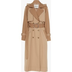 Women's CAALO Camel Long Hooded Trench Coat Size Large | Cotton