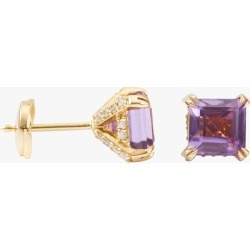 Yi Collection Amethyst & Diamond Stud Earrings | Gemstones/Yellow Gold/Cotton found on Bargain Bro India from Olivela for $1250.00