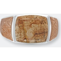 Light Brown Picasso Jasper Stone Signet Ring In Brown Rhodium Plated Sterling Silver - 7.5 - Also in: 11, 11.5, 6, 8, 13, 12.5, 12, 10.5, 9, 7, 9.5, 6.5, 8.5, 10 found on Bargain Bro from Verishop Inc for USD $174.04