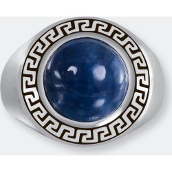 Blue Apatite Stone Signet Ring In Black Rhodium Plated Sterling Silver - 13 - Also in: 8, 9, 6, 10, 12.5, 12, 9.5, 8.5, 10.5, 7, 6.5, 11, 7.5, 11.5 found on Bargain Bro from Verishop Inc for USD $181.64
