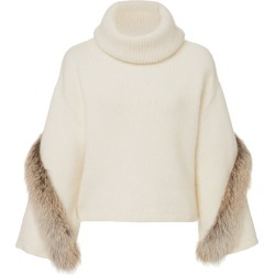 Sally LaPointe Airy Wool Cashmere Cowl Neck Bell Sleeve Sweater With