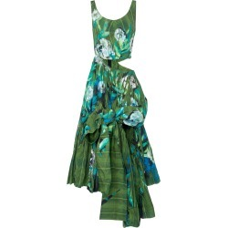Marni Asymmetric Flower-Painted Plaid Taffeta Maxi Dress Size: 40 found on Bargain Bro Philippines from Moda Operandi for $5500.00