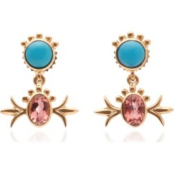 Marlo Laz Squash Blossom 14K Gold, Turquoise and Pink Tourmaline Hangi found on Bargain Bro Philippines from Moda Operandi for $2277.00