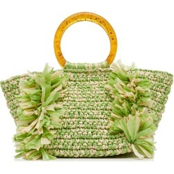 Carolina Santo Domingo Corallina Two-Tone Woven Raffia Bag