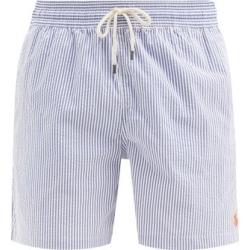 Polo Ralph Lauren - Traveller Logo-embroidered Seersucker Swim Shorts - Mens - Blue White found on Bargain Bro UK from Matches UK