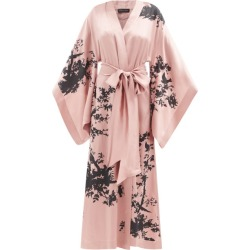 Carine Gilson - Bird-print Silk-satin Robe - Womens - Light Brown found on MODAPINS from Matches UK for USD $2661.07