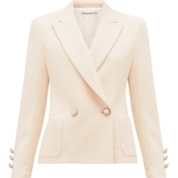 Alessandra Rich - Double-breasted Wool-blend Tweed Jacket - Womens - Ivory found on MODAPINS from Matches Global for USD $909.00