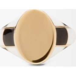Alison Lou - Checker Enamel And 14kt Gold Signet Ring - Womens - Gold found on MODAPINS from Matches UK for USD $1189.84