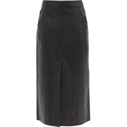 Ellery - Piste Noire Leather Midi Skirt - Womens - Black found on MODAPINS from Matches Global for USD $615.00