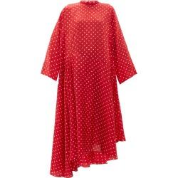 Balenciaga - Typo Polka-dot Silk-jacquard Midi Dress - Womens - Red Multi found on Bargain Bro India from Matches Global for $1050.00