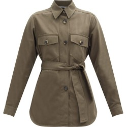Bella Freud - Belted Cotton-twill Shirt - Womens - Khaki found on MODAPINS from MATCHESFASHION.COM - AU for USD $438.13
