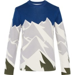Aztech Mountain - Mountain Print Wool Top - Mens - Blue Multi found on MODAPINS from MATCHESFASHION.COM - AU for USD $390.94