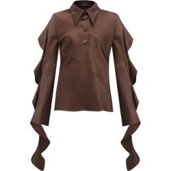 Ellery - Obsessed Panelled Ruffled Satin Blouse - Womens - Dark Brown found on MODAPINS from Matches Global for USD $345.00