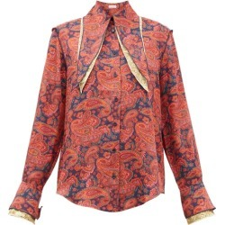 JW Anderson - Layered-collar Paisley-print Shirt - Womens - Red Print found on MODAPINS from MATCHESFASHION.COM - AU for USD $728.84