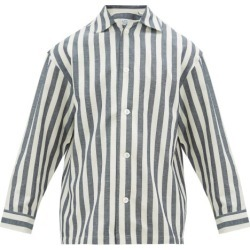 E. Tautz - Striped Cotton-blend Pyjama Shirt - Mens - Blue White found on MODAPINS from Matches Global for USD $65.00