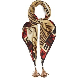 Etro - Tasselled Tiger-print Silk-twill Scarf - Womens - Brown Multi found on Bargain Bro UK from Matches UK