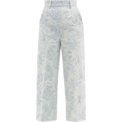 MSGM - Floral-jacquard Tailored Denim Trousers - Womens - Light Blue found on Bargain Bro UK from Matches UK