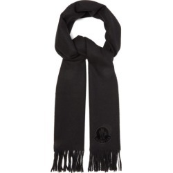 Moncler - Logo-appliqué Fringed Wool Scarf - Womens - Black found on Bargain Bro India from Matches Global for $290.00