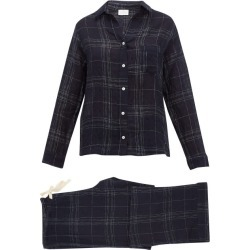 Pour Les Femmes - Checked Linen-blend Pyjamas - Womens - Navy Print found on Bargain Bro India from Matches Global for $350.00