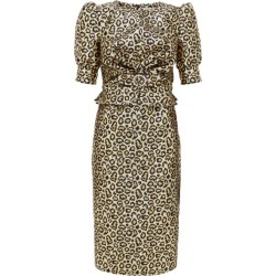Alessandra Rich - Crystal-embellished Leopard-brocade Dress - Womens - Gold found on MODAPINS from MATCHESFASHION.COM - AU for USD $518.51