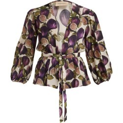 Adriana Degreas - Fig-print Silk Crepe De Chine Blouse - Womens - Purple Print found on MODAPINS from MATCHESFASHION.COM - AU for USD $201.37