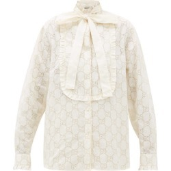 Gucci - GG Broderie-anglaise Cotton-blend Shirt - Womens - White Gold found on Bargain Bro Philippines from Matches Global for $1980.00