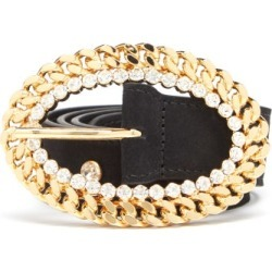 Alessandra Rich - Chain-buckle Crystal-stud Leather Belt - Womens - Black found on MODAPINS from MATCHESFASHION.COM - AU for USD $700.38
