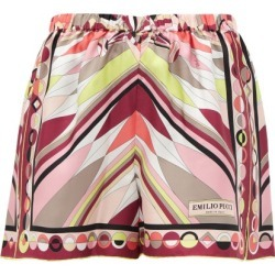 Emilio Pucci - Bes-print High-rise Silk-twill Shorts - Womens - Pink Print found on MODAPINS from Matches Global for USD $760.00