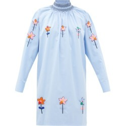 Prada - Floral-embroidered Cotton-poplin Tunic Blouse - Womens - Light Blue found on Bargain Bro UK from Matches UK