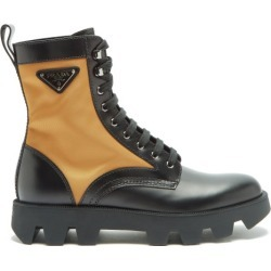 Prada - Bottes en cuir et nylon à plaque logo found on Bargain Bro from matchesfashion.com fr for USD $780.52